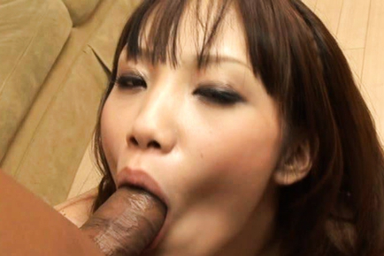 Ageha Kinashita takes his balls in her mouth and sucks on them