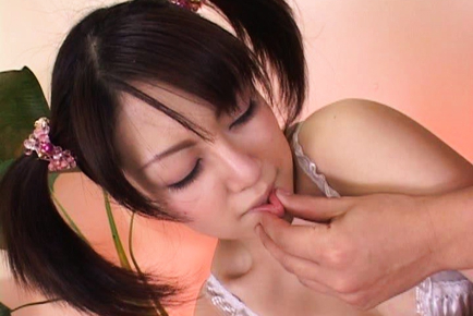 Ai looks adorable in her pigtails while forced to suck his cock