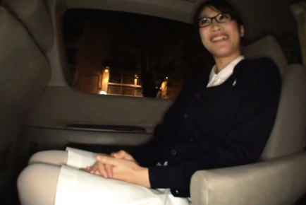 Miku sunohara. Miku Sunohara Asian with specs changes outfits in car and smiles