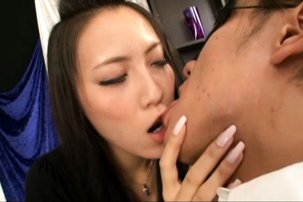 Koi azumi. Koi Azumi Asian kisses man all over before undressing him for sex