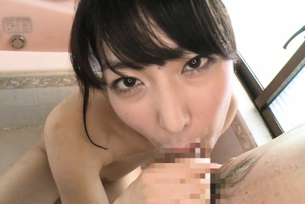 Kana yume. Kana Yume Asian with big eyes licks cock while stroking it well