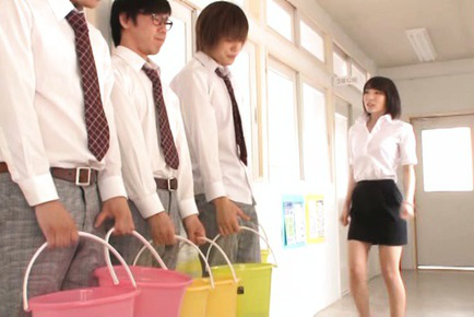 Airi suzumura. Airi Suzumura Asian in tight skirt suc dicks of cleaning men