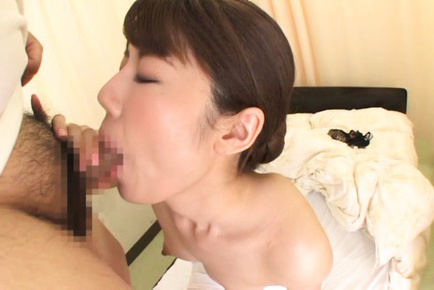 Riona kizaki. Riona Kizaki Asian with juicy boobies rubs and takes tool to blowjob