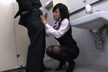 Yume kyono. Yume Kyono Asian in uniform strokes and cock sucking dong at toilet