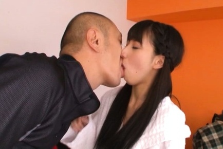 Yuuki itano. Yuuki Itano Asian with long hair licks man anatomy and cock sucking boner
