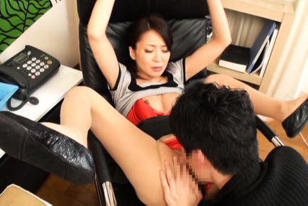 Japanese av model. Japanese AV Model has legs spread and boobs