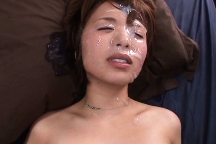 Rika hoshimi. Rika Hoshimi Asian has face flooded in cumshot