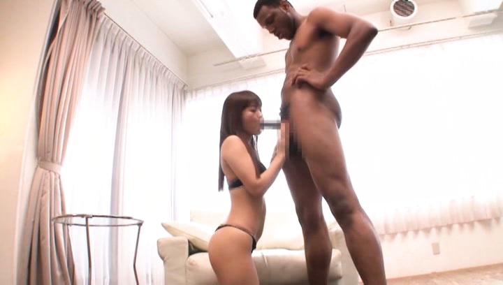 Japanese av model. Japanese AV Model in horny lingerie and down on knees cock sucking woody